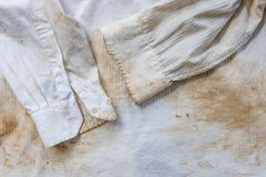 Very dirty and rusty white shirt close up for background Royalty Free Stock Photos