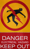 A very dramatic warning of an electrical hazard. A brightly painted sign indicating extreme danger royalty free stock photos