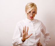 Very emotional businesswoman in glasses, blond hair Stock Photos