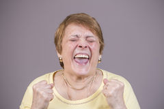 Very emotional woman screams on a gray background. Stock Photos