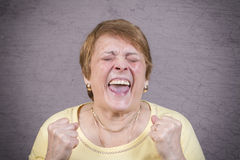Very emotional woman screams on a gray background. Stock Image