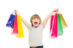 Very excited and enthusiastic shopping girl. Very excited and enthusiastic young shopping girl shouting Stock Photos