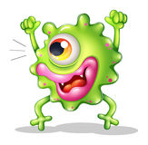 A very excited one-eyed monster. Illustration of a very excited one-eyed monster on a white background Stock Images