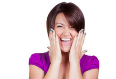 Very excited woman. Woman is very excited and screams Stock Images