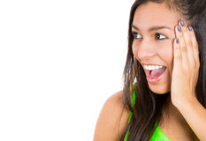 Very excited young woman holding her head in amazement Stock Photography