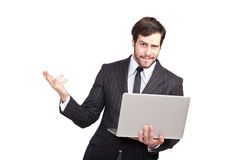 Very expresive and confident businessman Stock Photos