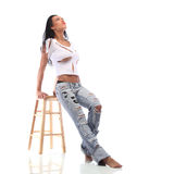 Very Expressive sexy brown girl in a white torn top Stock Photos