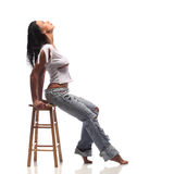 Very Expressive sexy brown girl in a white torn top Royalty Free Stock Images