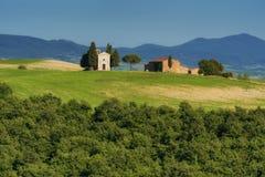 Very famous abandoned chapel Vitaleta, classic view of Tuscany, Italy royalty free stock image