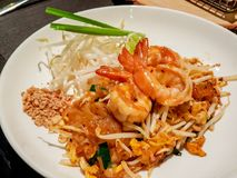 Very famous thai food, Fried noodle seasoned with special sauce royalty free stock images