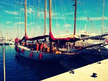 Very fancy boat in Cannes port. royalty free stock images