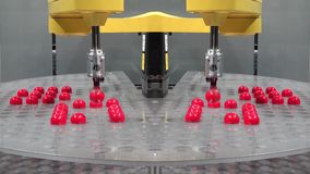 Very fast automatic robot arm sorting red balls