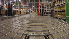 Very fast speed of supermarket trolley stock video footage