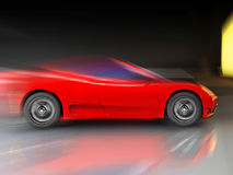 Very fast sport car. Red sport  fast car over mirror; three dimensional shape Royalty Free Stock Photos