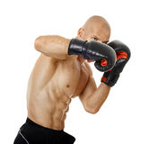 Very fit kickboxer punching on white Royalty Free Stock Photo