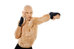 Very fit kickboxer punching on white Royalty Free Stock Images