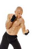 Very fit kickboxer punching on white Stock Image