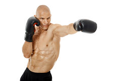 Very fit kickboxer punching on white Royalty Free Stock Image