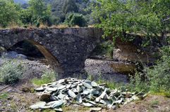 Very former bridge. Very former bridge in stones with two arches Royalty Free Stock Images