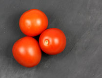 Very fresh red tomatoes on a slate Royalty Free Stock Photography