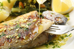 Very fresh seabream fish grilled with turnip greens Royalty Free Stock Photo