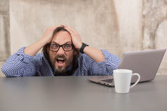 Very frightened businessman Royalty Free Stock Image