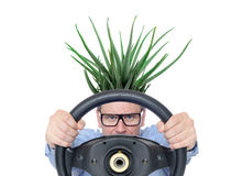 Very funny man in glasses and aloe with a steering wheel, front view. Isolated on white background. Royalty Free Stock Image