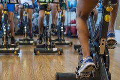 Spinning classes at the gym. Very funny spinning classes at the gym in Buenos Aires, Argentina royalty free stock photo