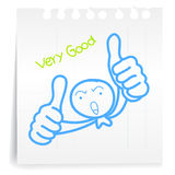 Very good cartoon_on paper Note. Hand draw very good cartoon_on paper Note Royalty Free Stock Photography