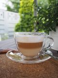 Cappuccino or white coffee for a business meeting with a client stock photos