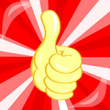 Very good hand gesture on red background. Vector gold Very good hand gesture on red background Stock Image