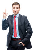 Very good idea! Portrait of a successful businessman Stock Photo