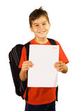 Very good mark. Young boy showing his good qualifications royalty free stock photos