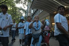 Argentinian Football Fans at the 2006 Football World Cup at Breitscheidplatz in Berlin on June 29, 2006 one day before the quarte Stock Photos