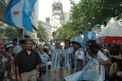 Argentinian Football Fans at the 2006 Football World Cup at Breitscheidplatz in Berlin on June 29, 2006 one day before the quarte Royalty Free Stock Images