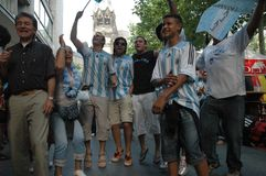 Argentinian Football Fans at the 2006 Football World Cup in Berlin on June 29, 2006 one day before the quarter-final Stock Image