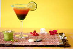 Very great cocktail with lemon. Fresh summertime cocktail with lemon and fruit juice Stock Photos