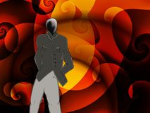 Abstract ubiquitous human character against flame background. A very grey figure stands nonchalantly against a swirling flaming dark orange and fiery red Royalty Free Stock Photo