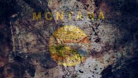 Very Grungy Montana Flag, Grunge Background Texture vector illustration