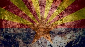 Very Grungy Arizona Flag, Grunge Background Texture, Zoom Out
