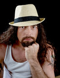 Very hansome man with long hair Royalty Free Stock Photography