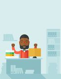 Very happy black businessman raising his both Stock Image