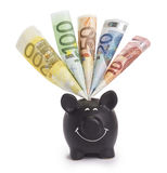 Very happy black piggybank stuffed with various euro banknotes Stock Photo