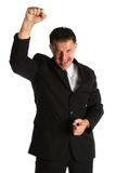Very happy buisness man with hands in the air Royalty Free Stock Photography