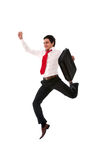 Very happy businessman. Jumping really high on white background Stock Photography