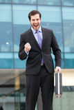Very happy businessman royalty free stock photos