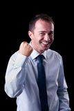 Very happy  businessman with his arm raised Royalty Free Stock Photography