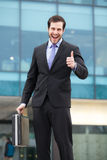 Very happy businessman showing ok sign royalty free stock photography