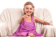 Very happy child pointing to camera Royalty Free Stock Photos