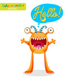 Very Happy Colorful Monster For Different Emotions. Funny Character With Speech Bubble Hello! Royalty Free Stock Photo